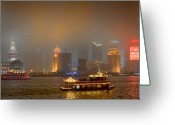 Shanghai China Greeting Cards - Shanghai Skyline at Night Greeting Card by James Dricker
