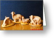 Sheep Ceramics Greeting Cards - Sheep and Geese of the Nativity Greeting Card by Michael Scherer