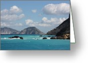 Skopelos Greeting Cards - Skopelos Blue Greeting Card by Yvonne Ayoub