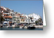 Skopelos Greeting Cards - Skopelos Harbour Greece Greeting Card by Yvonne Ayoub