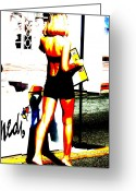 Funkpix Greeting Cards - South Beach waitress Greeting Card by Funkpix Photo  Hunter