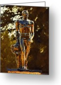 Michigan Greeting Cards - Sparty Greeting Card by Paul Bartoszek