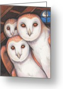 Owl Drawings Greeting Cards - Spectral Beings Greeting Card by Amy S Turner