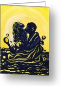 Couples Painting Greeting Cards - Splash Greeting Card by Toni  Thorne