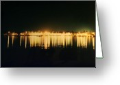 Evening Landscape Greeting Cards - St. Augustine Lights Greeting Card by Kenneth Albin