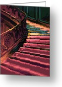 Bannister Tapestries Textiles Greeting Cards - Stairway to Somewhere Greeting Card by Lyle  Huisken