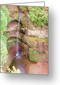Anna Villarreal Garbis Greeting Cards - Starved Rock Falls Greeting Card by Anna Villarreal Garbis