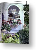 Impressionist Greeting Cards - Stockbridge Window Boxes Greeting Card by David Lloyd Glover