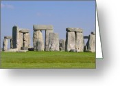 History Pyrography Greeting Cards - Stonehenge Morning Greeting Card by Bernadette Wulf