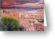 Bryce Canyon Greeting Cards - Storm over Bryce Canyon Greeting Card by Eric Foltz