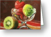 Kiwi Greeting Cards - Strawberry Kiwi Greeting Card by Anna Bain