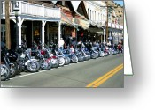 Motorbike Greeting Cards - Street Vibrations in Virginia City Nevada Greeting Card by Brad Scott