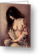 Nude Mixed Media Greeting Cards - Study in Purple Greeting Card by Dan Earle