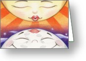 Orbital Greeting Cards - Sun Kissed Moon Greeting Card by Amy S Turner