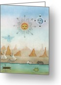 Symbolic Pastels Greeting Cards - Sun Moon and Turtles Greeting Card by Sally Appleby