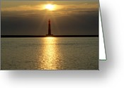 Light House Greeting Cards - Sunrise Over Morris Island Lighthouse Greeting Card by Dustin K Ryan