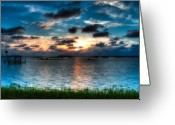 Beautiful Greeting Cards - Sunset on Cedar Key Greeting Card by Rich Leighton