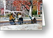 Center City Painting Greeting Cards - Swan Fountain Greeting Card by Joyce A Guariglia