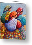 Bright Pastels Greeting Cards - Tarahumara Women Greeting Card by Candy Mayer