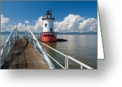 Historic Site Greeting Cards - Tarrytown Lighthouse Hudson River New York Greeting Card by George Oze
