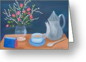 Teapot Greeting Cards - Tea Time Greeting Card by Ruth  Housley