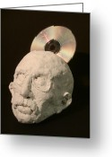Metaphor Sculpture Greeting Cards - Tech-head Greeting Card by Gary Kaemmer