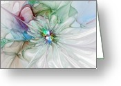 Abstract Flowers Greeting Cards - Tender Touch Greeting Card by Amanda Moore