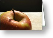 Yellow And Red Greeting Cards - The apple stem Greeting Card by Kim Pascu