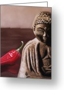 Buddha Pastels Greeting Cards - The Capsicum Monk Greeting Card by Melanie Cossey