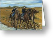 Buffalo Painting Greeting Cards - The Cavalry Greeting Card by Toni  Thorne