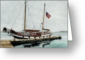 Puget Sound Greeting Cards - The Cutty Sark in Penn Cove Fog Greeting Card by Perry Woodfin