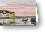Galway Greeting Cards - The Long Walk- evening tide Greeting Card by Vanda Luddy