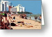 Sunbathing Greeting Cards - The Miami Beach Greeting Card by David Lee Thompson