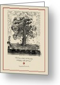 Tree Drawings Greeting Cards - The Mighty Oak Greeting Card by Ernestine Grindal