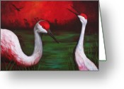 Crane Greeting Cards - The People Greeting Card by Bonnie Kelso