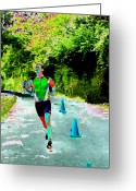 Athletic Digital Art Greeting Cards - The Runner Greeting Card by Peter  McIntosh