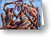 Contemporary Drawings Greeting Cards - The seduction of the muses Greeting Card by Darwin Leon