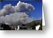 Bruster Greeting Cards - The Station Fire Panoramic Greeting Card by Clayton Bruster