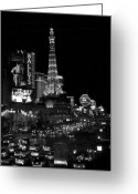 Street Scene Greeting Cards - The Strip by night b-w Greeting Card by Anita Burgermeister