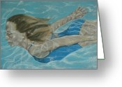 Woman In Pool Greeting Cards - The Swimmer Greeting Card by Sandra Valentini