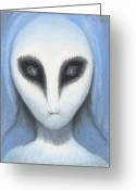 Aliens Drawings Greeting Cards - The White Owl Greeting Card by Amy S Turner