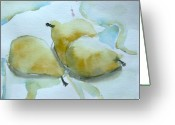 Food Pastels Greeting Cards - Three Gold Pears Greeting Card by Mindy Newman