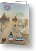 Symbolic Pastels Greeting Cards - Three Tipees and Fire Greeting Card by Sally Appleby