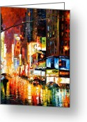 Afremov Greeting Cards - Times Square Greeting Card by Leonid Afremov