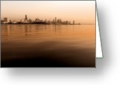 Lake Michgan Greeting Cards - Tinted Chicago Skyline Greeting Card by Sven Brogren