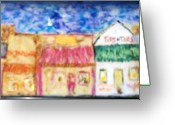 Cities Glass Art Greeting Cards - Tip and Toes Greeting Card by Maggie Cruser