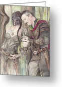 Elves Greeting Cards - Torgil and Dulcamara Warrior Greeting Card by Morgan Fitzsimons
