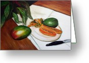 Papaya Greeting Cards - Tropical Fruit Greeting Card by Dorothy Riley