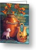 Mexican Pastels Greeting Cards - Trumpet Vines and Pottery Greeting Card by Candy Mayer