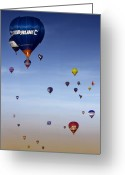 Balloon Fiesta Greeting Cards - Up Up And Away  Greeting Card by Angel  Tarantella